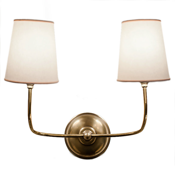 Vendome Double Sconce with Natural Paper Shades in Hand-Rubbed Antique Brass