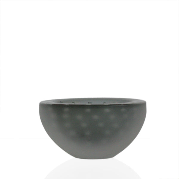 Small bowl in gray glass with bubble detail