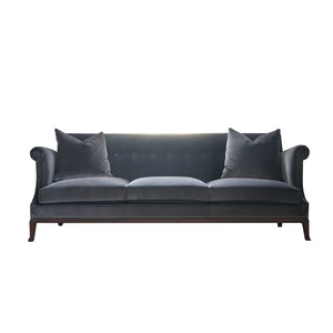 Dark grey velvet three cushion sofa.
