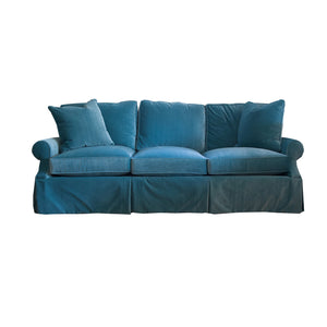 The Michelle Three Cushion sofa in blue velvet