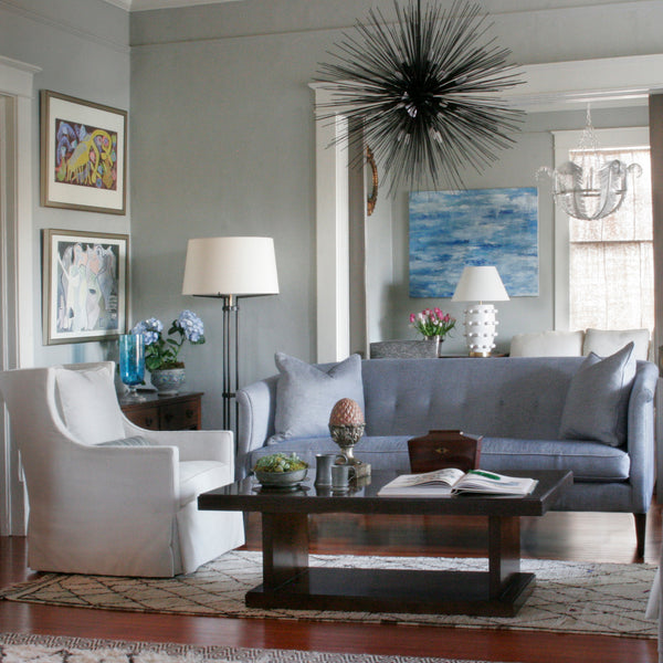 Vignette with The Albert Sofa in blue