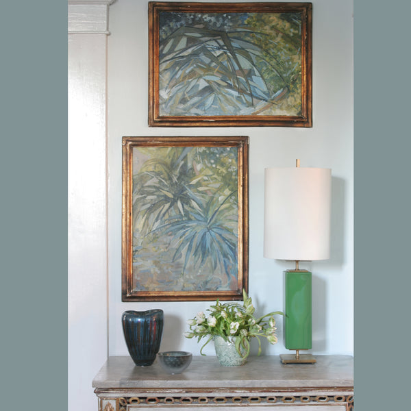 Small Vignette with French Botanical Study II Painting in Blue, Green and yellow