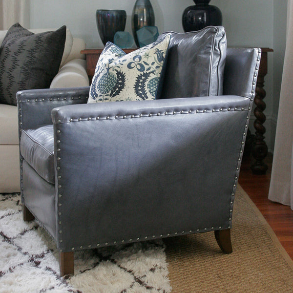 Vignette with George Club Chair from Lee Industries in Grey Leather