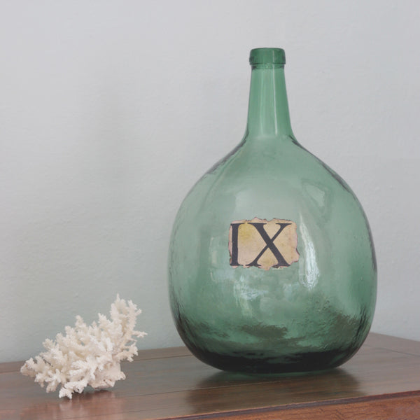 Vignette with Large antique glass wine jar