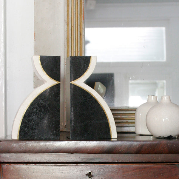 Black and White Inlaid Stone Bookends on Mantle
