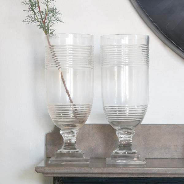 Small Vignette with a Pair of Ring Etched Glass Hurricanes