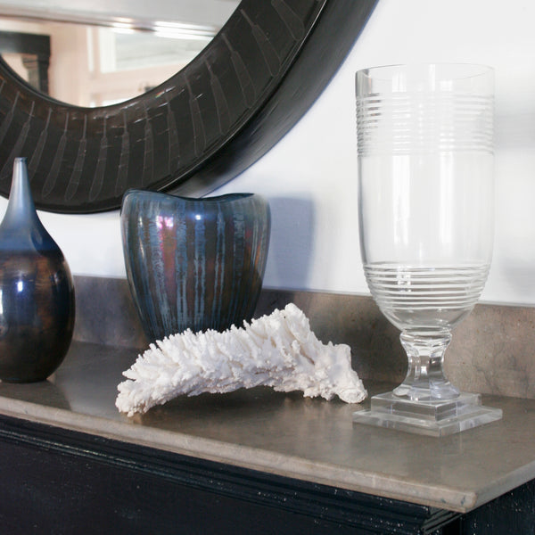Large Iridescent glass vase in blue on mantle
