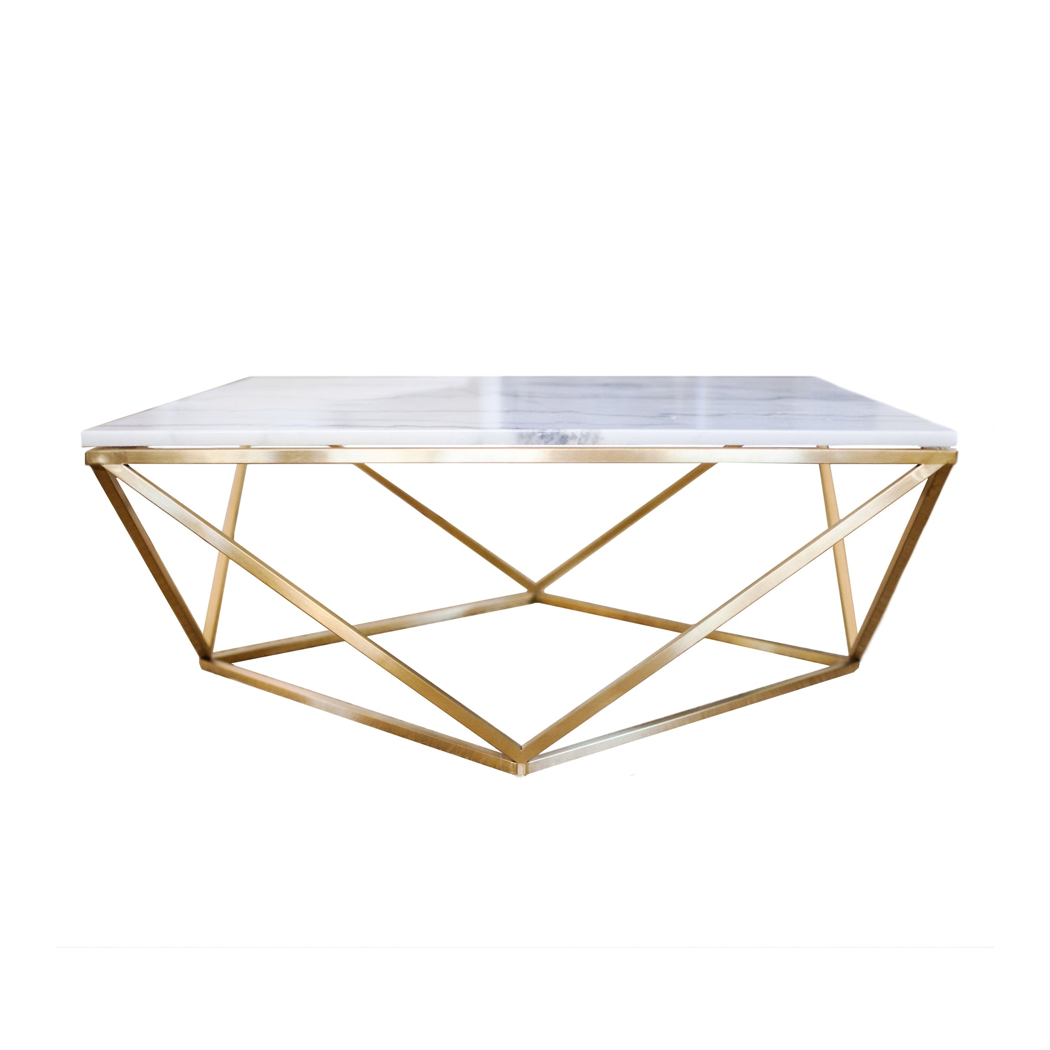 Alexander Cocktail table in White marble and gold-brushed stainless steel