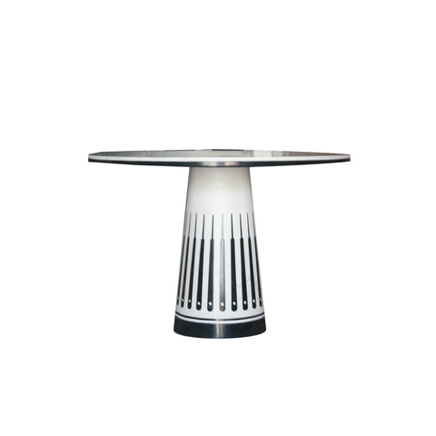 The Orlando Table from Maitland Smith in  honed agate and inlaid black wax stone