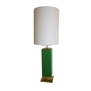 Beekman Table Lamp in Green Reverse Painted Glass
