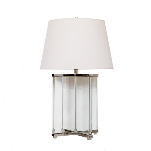 Cameron Table Lamp in Crystal and polished Nickel