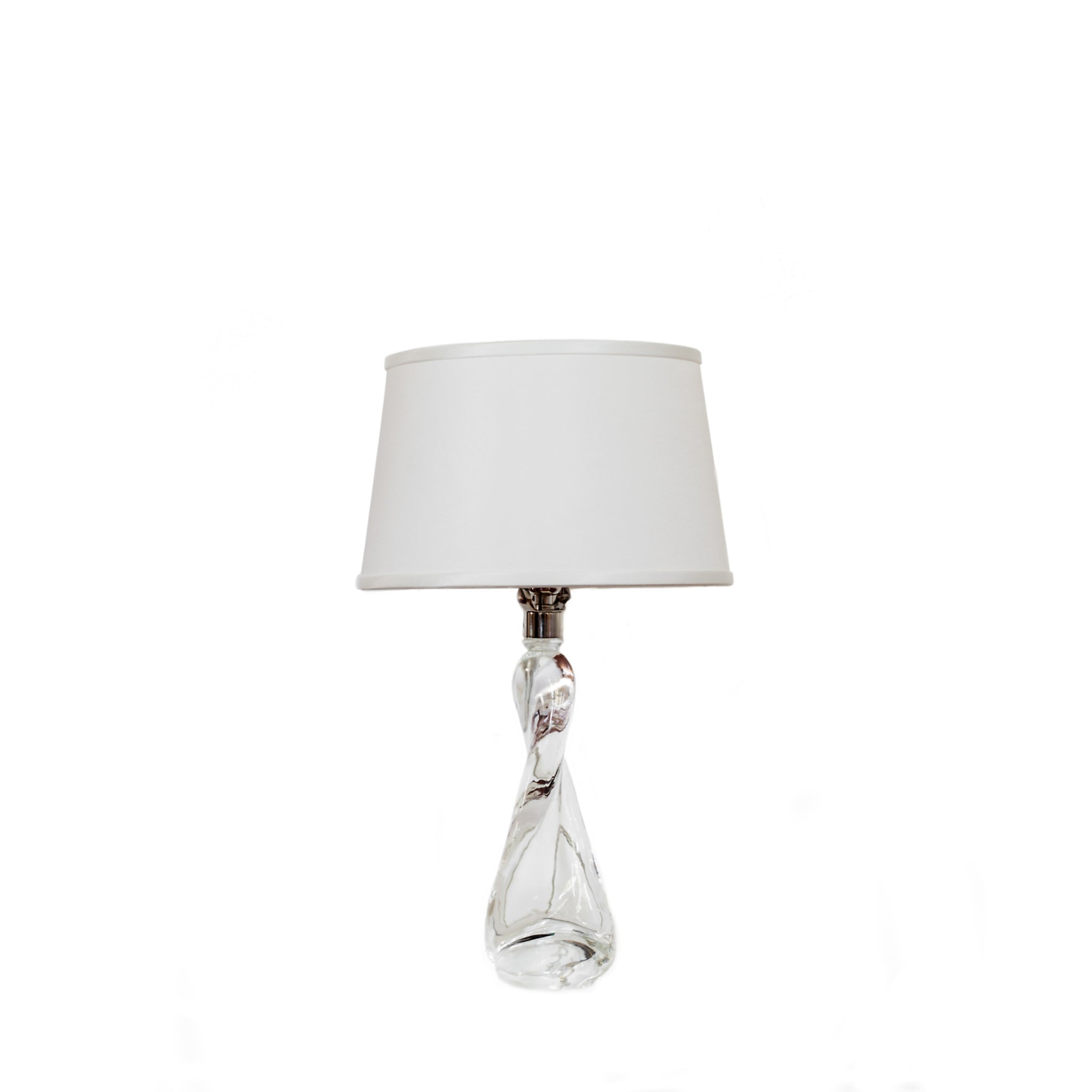 Chloe Table Lamp in clear glass with silk shade