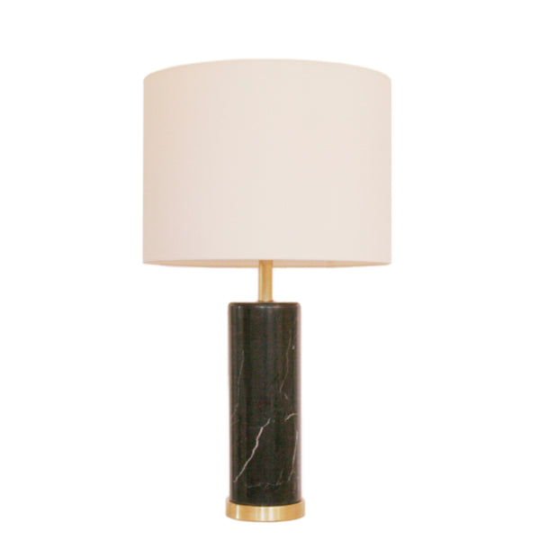 Cliff Table Lamp in Black Marble with Linen Shade