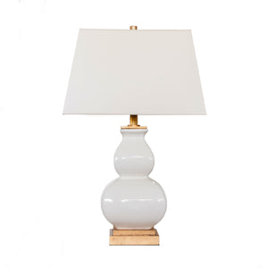 Fang Gourd Table Lamp In Ivory Crackle Ceramic with Natural Paper Shade