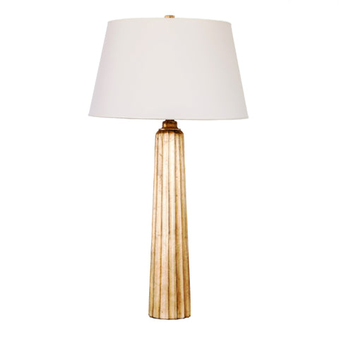 Large Fluted Spire Table Lamp in Gilded Iron with Wax