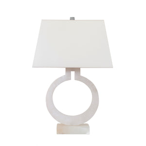 Large Ring Form Table Lamp in Alabaster