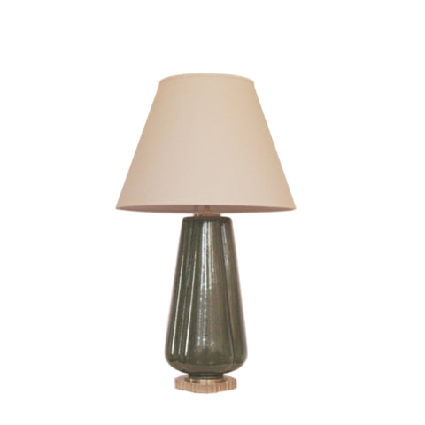 Penelope Table Lamp by Alexa Hampton for Visual Comfort & Co. in Green with Percale Shade
