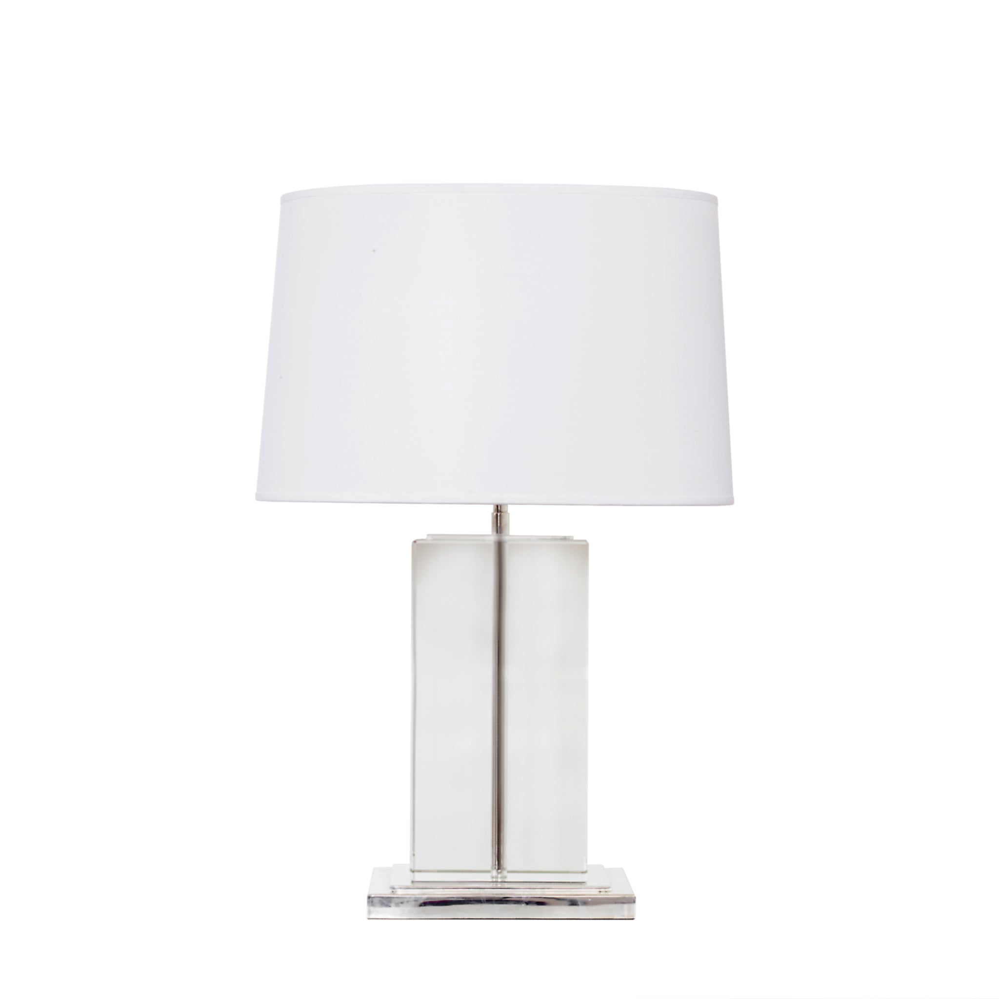 Small Block Table Lamp in Crystal with Polished Silver with Cotton Shade