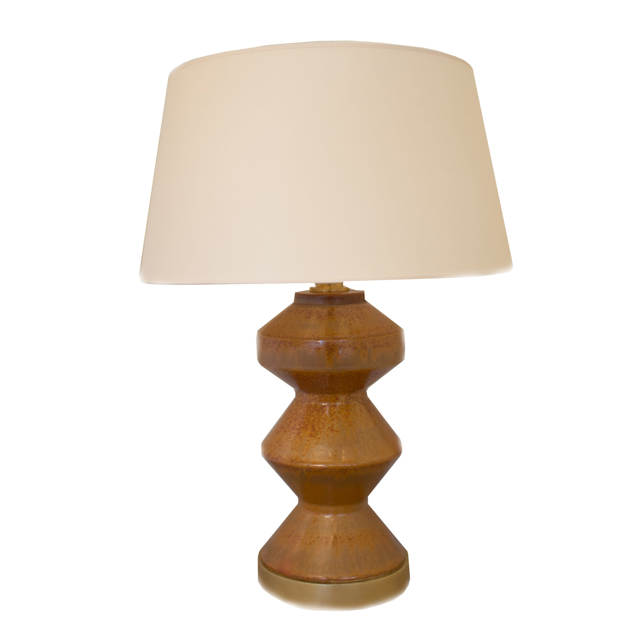 Weller Zig Zag Table Lamp in Shanghai Brown with Natural Paper Shade