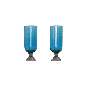 Pair of Blue glass hurricanes with etched star pattern