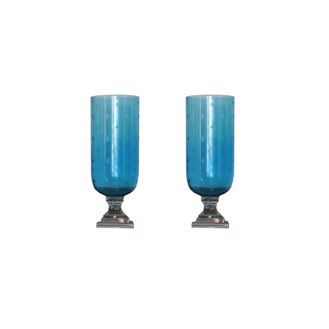 Pair of Blue Glass Etched Hurricanes