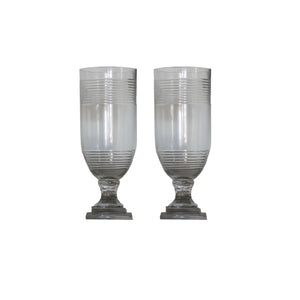 Pair of Ring Etched Glass Hurricanes