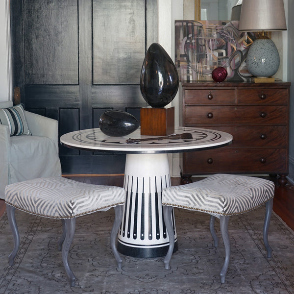 Vignette with The Orlando Table from Maitland Smith in honed agate and inlaid black wax stone