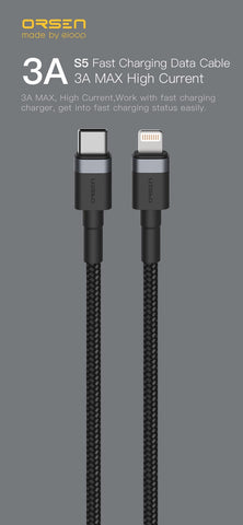 สาย Eloop S51 Type C to Lightning Cable (iphone) ส่งฟรี EMS & Kerry Express!
