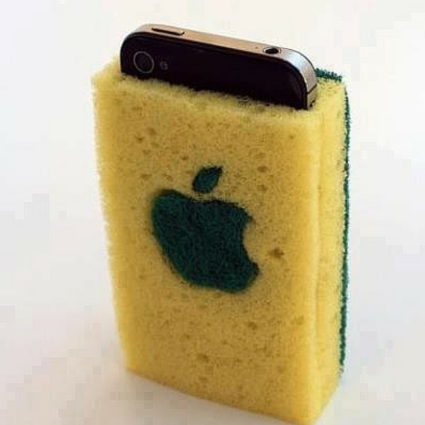sponge apple logo iphone case weird and funky