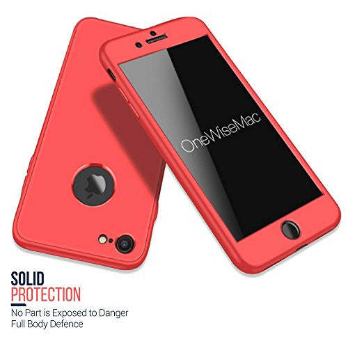 new product 972d6 202ca 360° Full Body Silicone [with Tempered Glass Screen Protector] Case for  Apple iPhone 6 / 6s [Peach]