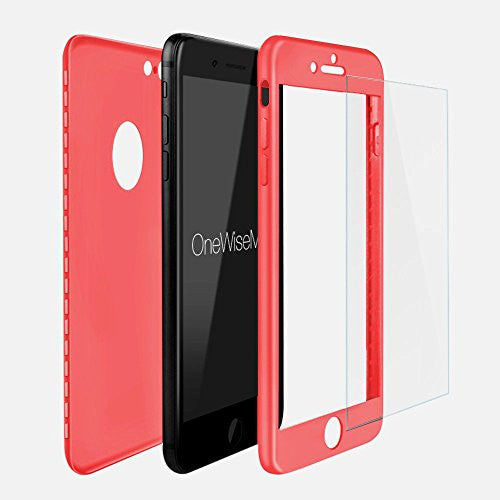 differently ae049 05b5f 360° Full Body Silicone [with Tempered Glass Screen Protector] Case for  Apple iPhone 7 PLUS [Peach]