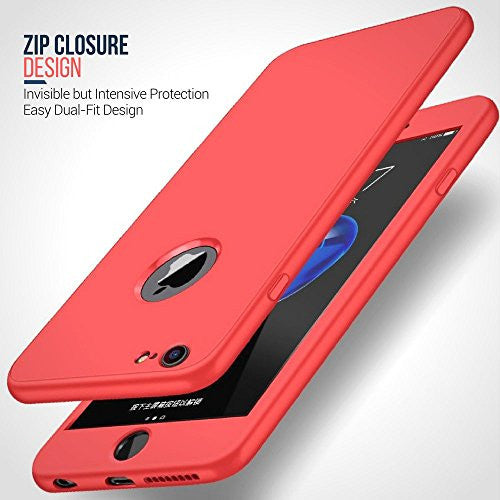 competitive price 3be62 3bf08 360° Full Body Silicone [with Tempered Glass Screen Protector] Case for  Apple iPhone 6 Plus / 6s Plus [Peach]