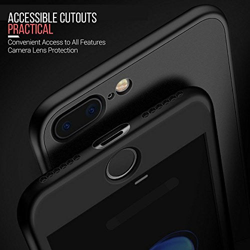 watch f6266 ffb92 360° Full Body Silicone [with Tempered Glass Screen Protector] Case for  Apple iPhone 6 / 6s [Black]