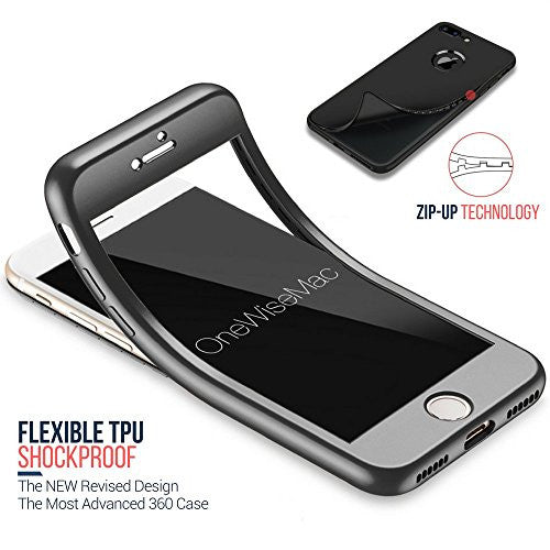 super popular 87468 2a0f7 360° Full Body Silicone [with Tempered Glass Screen Protector] Case for  Apple iPhone 7 [Black]