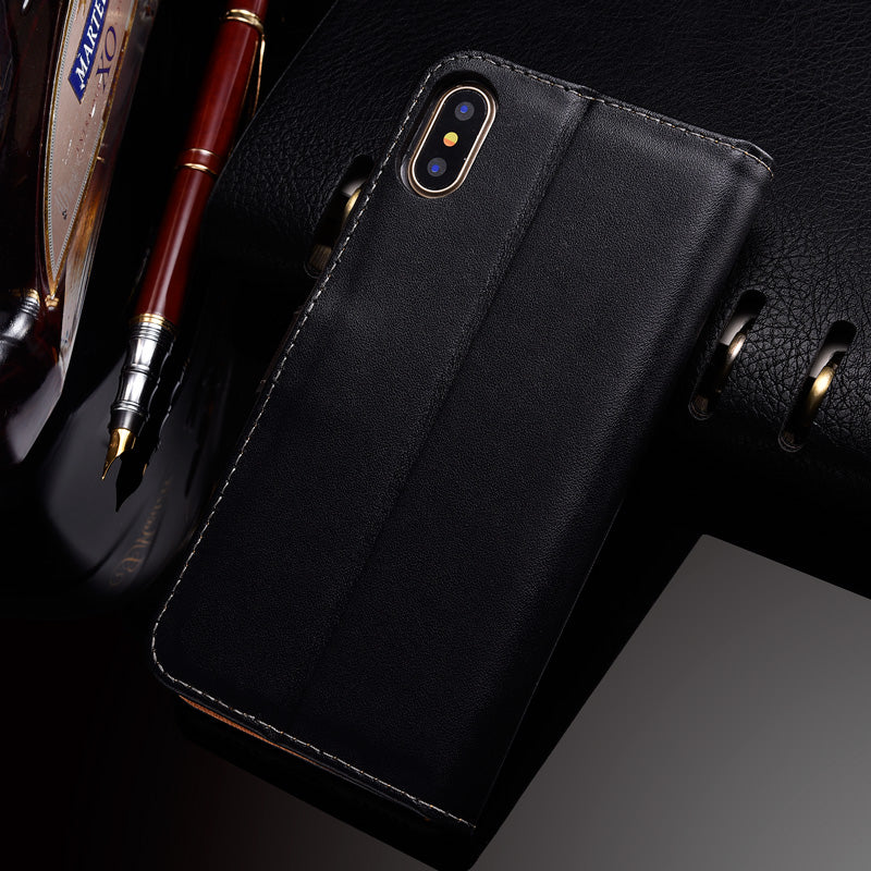 best service d37e6 045af Genuine Leather Flip Wallet Premium iPhone X Edition Case [2 Colours]