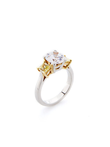 Platinum and 18K Yellow Gold Cushion Cut Diamond Ring
