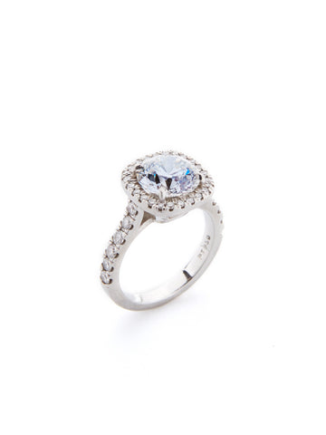 Round Halo Pave Ring