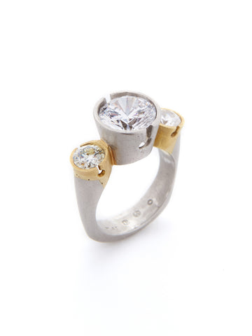 3 Bezel Two-Tone Diamond Ring