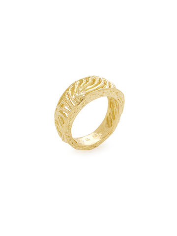 18K Yellow Gold Etched Vine Ring