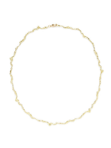 18K Yellow Gold Nugget Link Necklace