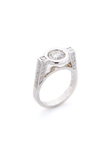 Platinum Floating Bezel Diamond Ring