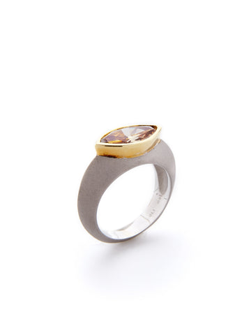 Two-Tone Knife Edge Brown Diamond Ring