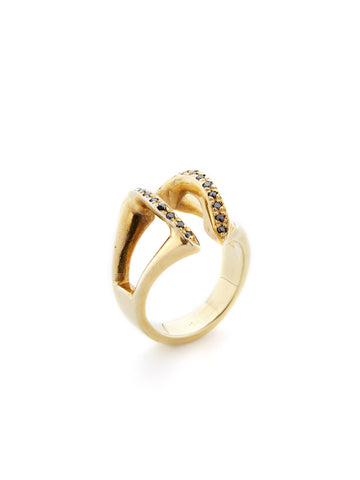 Open Arch Black Diamond Ring