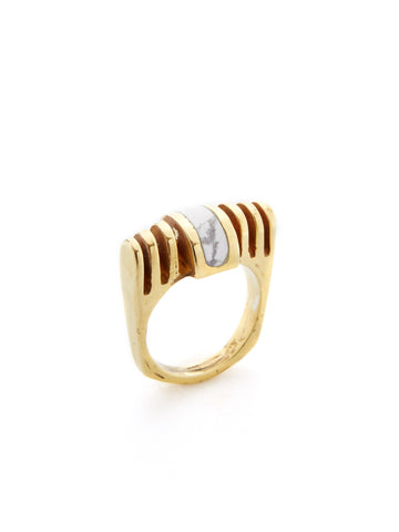 Ridged Howlite Inlay Ring