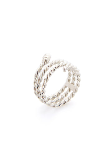 Silver Roped Serpent Ring
