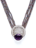 Reflecting Rods Amethyst Pearl Diamond Necklace