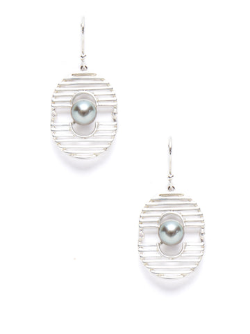 Oval Rod Pearl Diamond Earrings