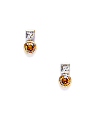 Square Round Diamond Two-Tone Earrings