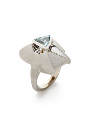 Aquamarine White Gold Pyramid Ring