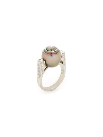 Black South Sea Baroque Pearl Diamond Ring